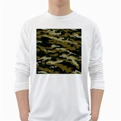 Military Vector Pattern Texture White Long Sleeve T-Shirts