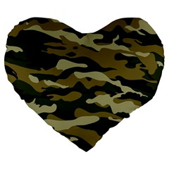 Military Vector Pattern Texture Large 19  Premium Heart Shape Cushions