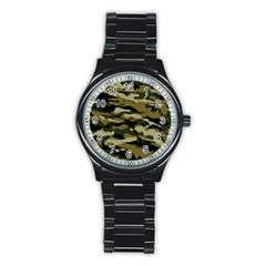 Military Vector Pattern Texture Stainless Steel Round Watch