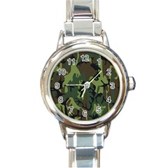 Military Camouflage Pattern Round Italian Charm Watch