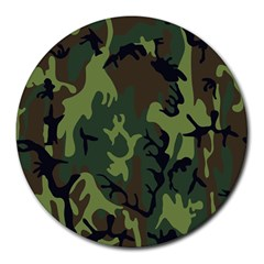 Military Camouflage Pattern Round Mousepads