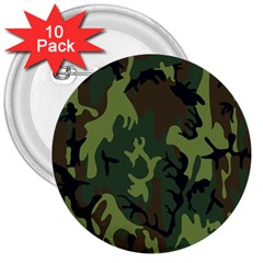 Military Camouflage Pattern 3  Buttons (10 pack)