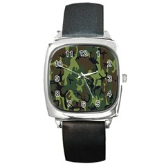 Military Camouflage Pattern Square Metal Watch