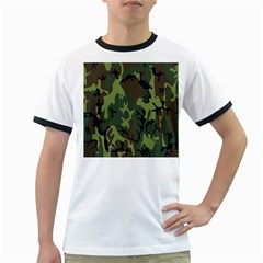 Military Camouflage Pattern Ringer T-Shirts