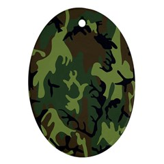Military Camouflage Pattern Oval Ornament (Two Sides)