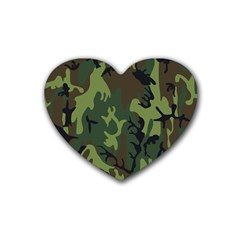 Military Camouflage Pattern Rubber Coaster (heart)