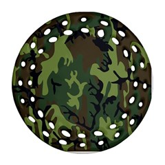 Military Camouflage Pattern Round Filigree Ornament (Two Sides)