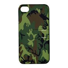 Military Camouflage Pattern Apple Iphone 4/4s Hardshell Case With Stand