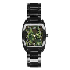 Military Camouflage Pattern Stainless Steel Barrel Watch
