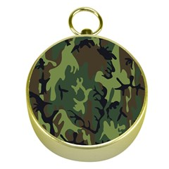 Military Camouflage Pattern Gold Compasses