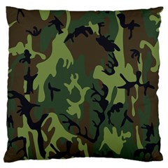 Military Camouflage Pattern Large Flano Cushion Case (two Sides)