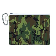 Military Camouflage Pattern Canvas Cosmetic Bag (L)
