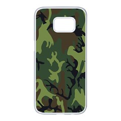 Military Camouflage Pattern Samsung Galaxy S7 Edge White Seamless Case
