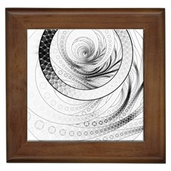 Enso, a Perfect Black and White Zen Fractal Circle Framed Tiles