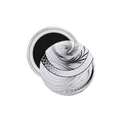 Enso, a Perfect Black and White Zen Fractal Circle 1.75  Magnets