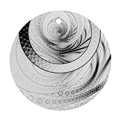 Enso, a Perfect Black and White Zen Fractal Circle Ornament (Round)