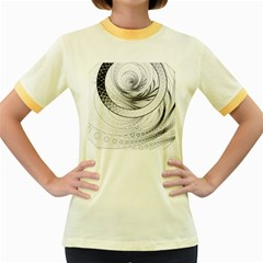 Enso, a Perfect Black and White Zen Fractal Circle Women s Fitted Ringer T-Shirts