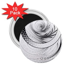 Enso, a Perfect Black and White Zen Fractal Circle 2.25  Magnets (10 pack)