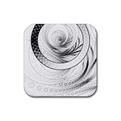 Enso, a Perfect Black and White Zen Fractal Circle Rubber Coaster (Square)