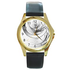 Enso, A Perfect Black And White Zen Fractal Circle Round Gold Metal Watch