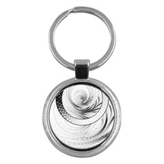 Enso, A Perfect Black And White Zen Fractal Circle Key Chains (round)