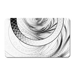 Enso, a Perfect Black and White Zen Fractal Circle Magnet (Rectangular)