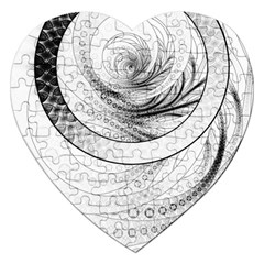 Enso, a Perfect Black and White Zen Fractal Circle Jigsaw Puzzle (Heart)