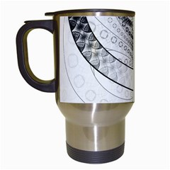 Enso, a Perfect Black and White Zen Fractal Circle Travel Mugs (White)