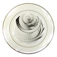 Enso, a Perfect Black and White Zen Fractal Circle Porcelain Plates