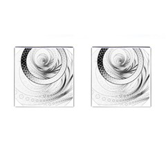 Enso, a Perfect Black and White Zen Fractal Circle Cufflinks (Square)