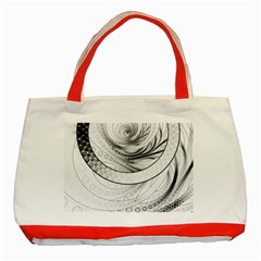 Enso, a Perfect Black and White Zen Fractal Circle Classic Tote Bag (Red)