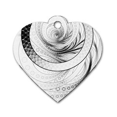 Enso, a Perfect Black and White Zen Fractal Circle Dog Tag Heart (One Side)