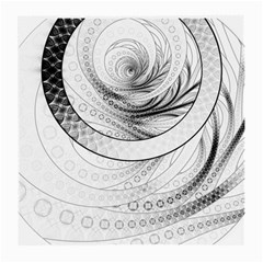 Enso, a Perfect Black and White Zen Fractal Circle Medium Glasses Cloth