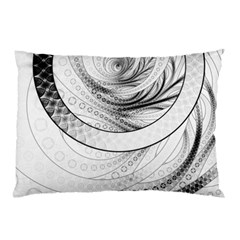 Enso, a Perfect Black and White Zen Fractal Circle Pillow Case