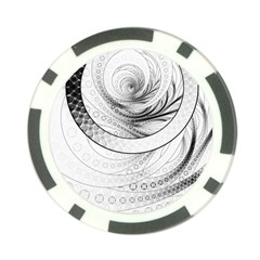 Enso, a Perfect Black and White Zen Fractal Circle Poker Chip Card Guard (10 pack)