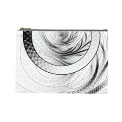 Enso, a Perfect Black and White Zen Fractal Circle Cosmetic Bag (Large)