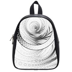 Enso, a Perfect Black and White Zen Fractal Circle School Bags (Small)