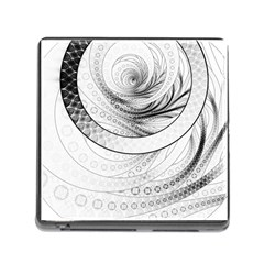Enso, a Perfect Black and White Zen Fractal Circle Memory Card Reader (Square)