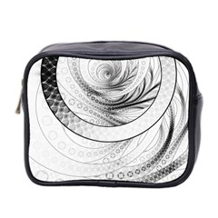 Enso, a Perfect Black and White Zen Fractal Circle Mini Toiletries Bag 2-Side