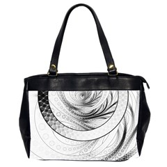 Enso, a Perfect Black and White Zen Fractal Circle Office Handbags (2 Sides)