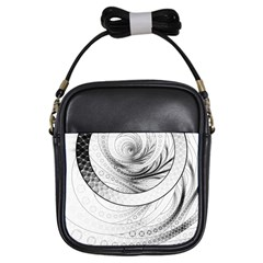 Enso, a Perfect Black and White Zen Fractal Circle Girls Sling Bags