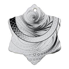 Enso, a Perfect Black and White Zen Fractal Circle Ornament (Snowflake)
