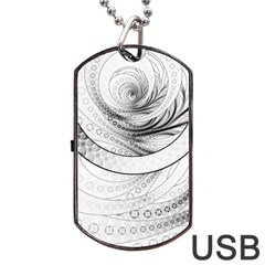 Enso, a Perfect Black and White Zen Fractal Circle Dog Tag USB Flash (Two Sides)