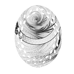 Enso, a Perfect Black and White Zen Fractal Circle Oval Filigree Ornament (Two Sides)