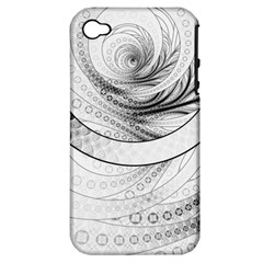 Enso, a Perfect Black and White Zen Fractal Circle Apple iPhone 4/4S Hardshell Case (PC+Silicone)