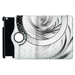 Enso, a Perfect Black and White Zen Fractal Circle Apple iPad 3/4 Flip 360 Case