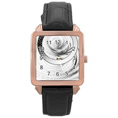 Enso, a Perfect Black and White Zen Fractal Circle Rose Gold Leather Watch