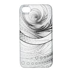 Enso, a Perfect Black and White Zen Fractal Circle Apple iPhone 4/4S Hardshell Case with Stand