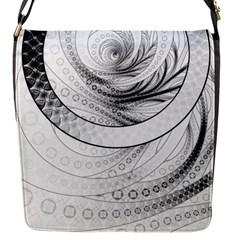 Enso, a Perfect Black and White Zen Fractal Circle Flap Messenger Bag (S)