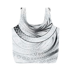 Enso, a Perfect Black and White Zen Fractal Circle Full Print Recycle Bags (M)